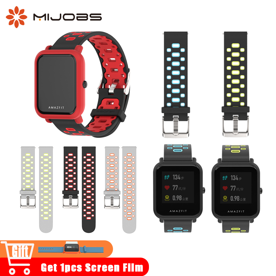 Galleria fotografica Mijobs 20mm Wrist Strap for Xiaomi Huami Amazfit GTR Bip BIT Smart Watches Strap Band Sport gts Smartwatch Accessories Silicone Bracelet