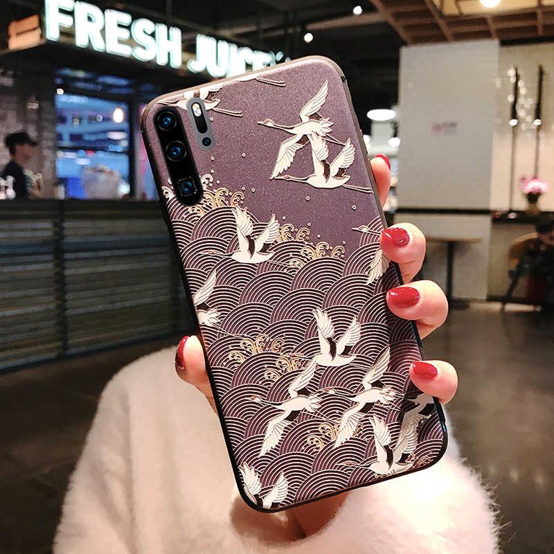 3D Blume Relief Silikon Fall für Huawei Y7 Y6 Pro Y5 Y9 2019 P10 P20 P30 Mate 20 Lite Ehre 10i 10 9 Lite 8X P Smart Plus