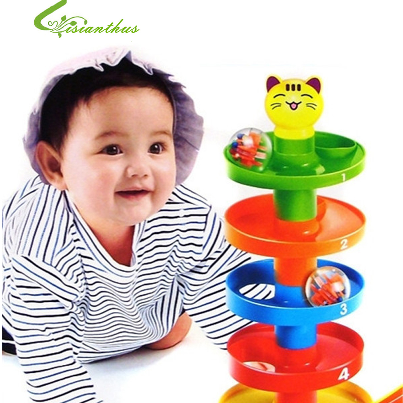 Stack Layers Tower Ramp Billowed Roll Ball Bell toy Set for Baby Infant Developmental Educational Toys Free Shipping TWY0015