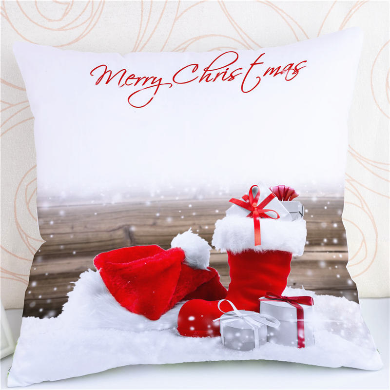 Merry Christmas Letter Gift Cushion Case Pillow Cotton Christmas Tree Santa Claus Socks Throw Pillow 45*45cm Home Decoration