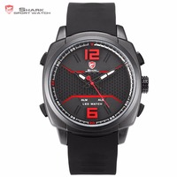 Whitetip Reef Shark Sport Watch Black Red Honeycomb Dial Face With Soft Silicone Strap LED Dual Movement Digital Watch / SH488