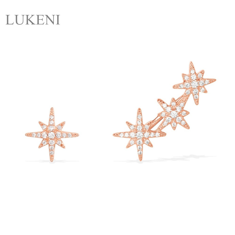 LUKENI New Design Personality Fashion Women S925 Sterling Silver Inlay Zircon M Word Asymmetric Stud Earrings Jewelry ...