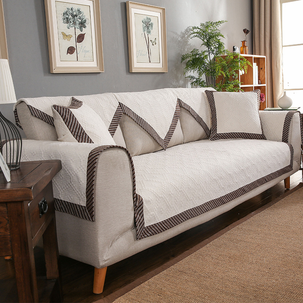 Stylish Simplicity White Cotton Sectional Sofa Cover Four