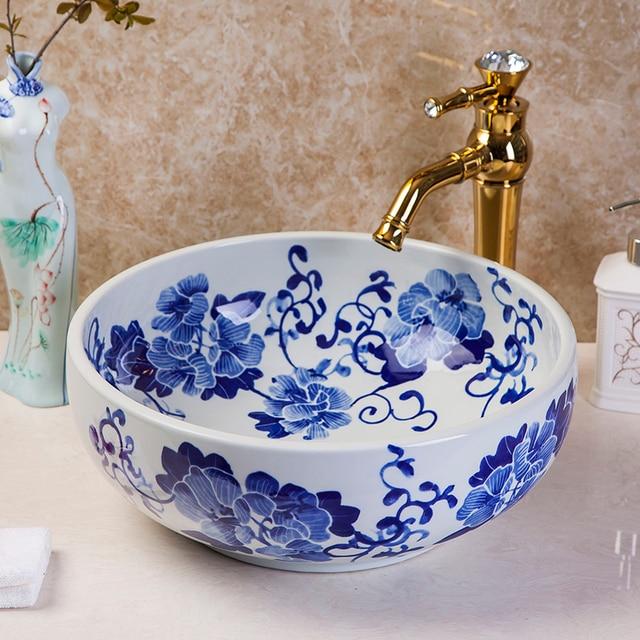 Blue And White Chinese Countertop Basin Sink Handmade Ceramic Bathroom Vessel  Sinks Vanities Decorative Art Wash