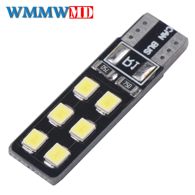 1Pcs T10 W5W Car LED Lights CANBUS 12 Leds 3528 SMD Clearance Light Reading lamp 194 168 2825 Bulb Lamp Signal Light White 12V