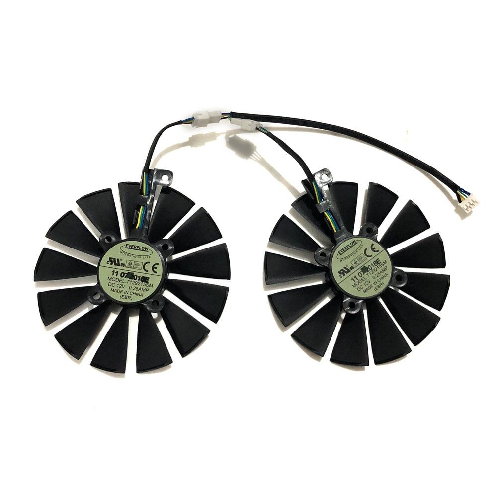 Купить с кэшбэком 2pcs/set 95MM(100MM) T129215SM Cooler Fan For ASUS ROG POSEIDON GTX1080TI P11G ASUS STRIX RX470 RX570 580 Video Card Replacement
