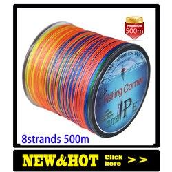 Dropshipping Braided Fishing line 8 Strands 500m Multicolor Super Power Multifilament PE braid Line 10LB 20LB 30LB 40LB 100LB