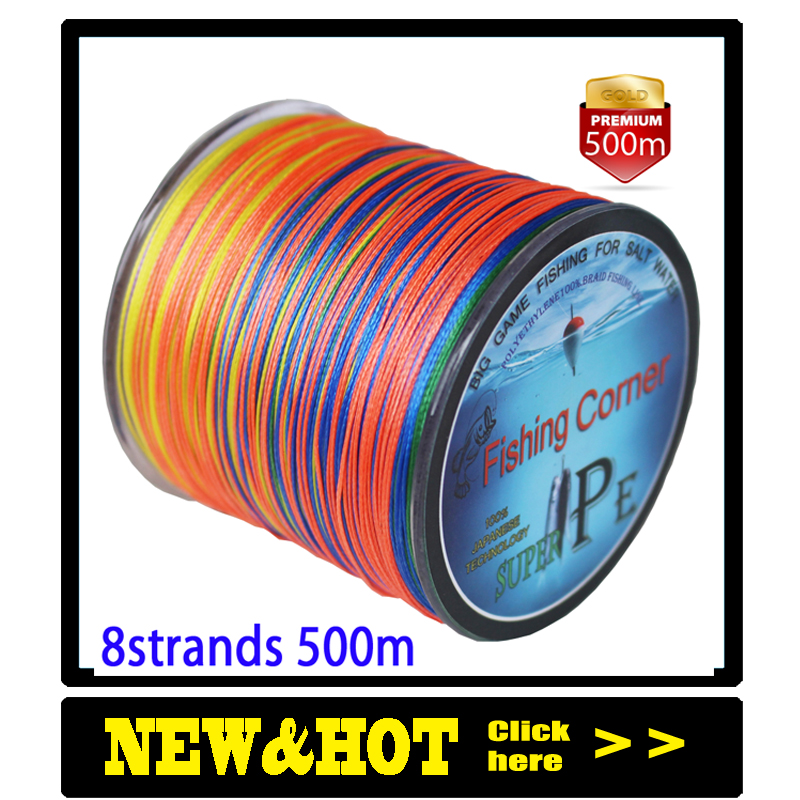 Dropshipping Braided Fishing line 8 Strands 500m Multicolor Super Power Multifilament PE ლენტები 10LB 20LB 30LB 40LB 100LB