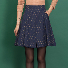 Winter Skirt Women Printing A-line Winter Skirt Women's Clothing High Waist Fashion Pleated Skirt Saia Feminino Pocket C1251