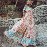 2019 Summer Women Boho Beach Dress Off Shoulder Floral Print Ruffle Large Swing Vintage Long Dress Loose Casual Female Clothing