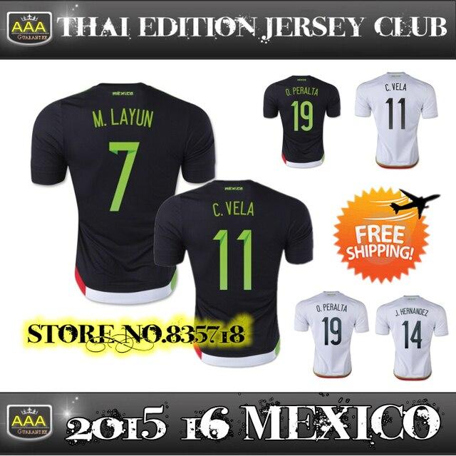 48d42b839 camisetas de futbol Mexico 2015 Home Away White Black M.LAHARITO Mexico 15 16  Soccer Jersey G.DOS SANTOYUN C.VELA PERALTA Shirt