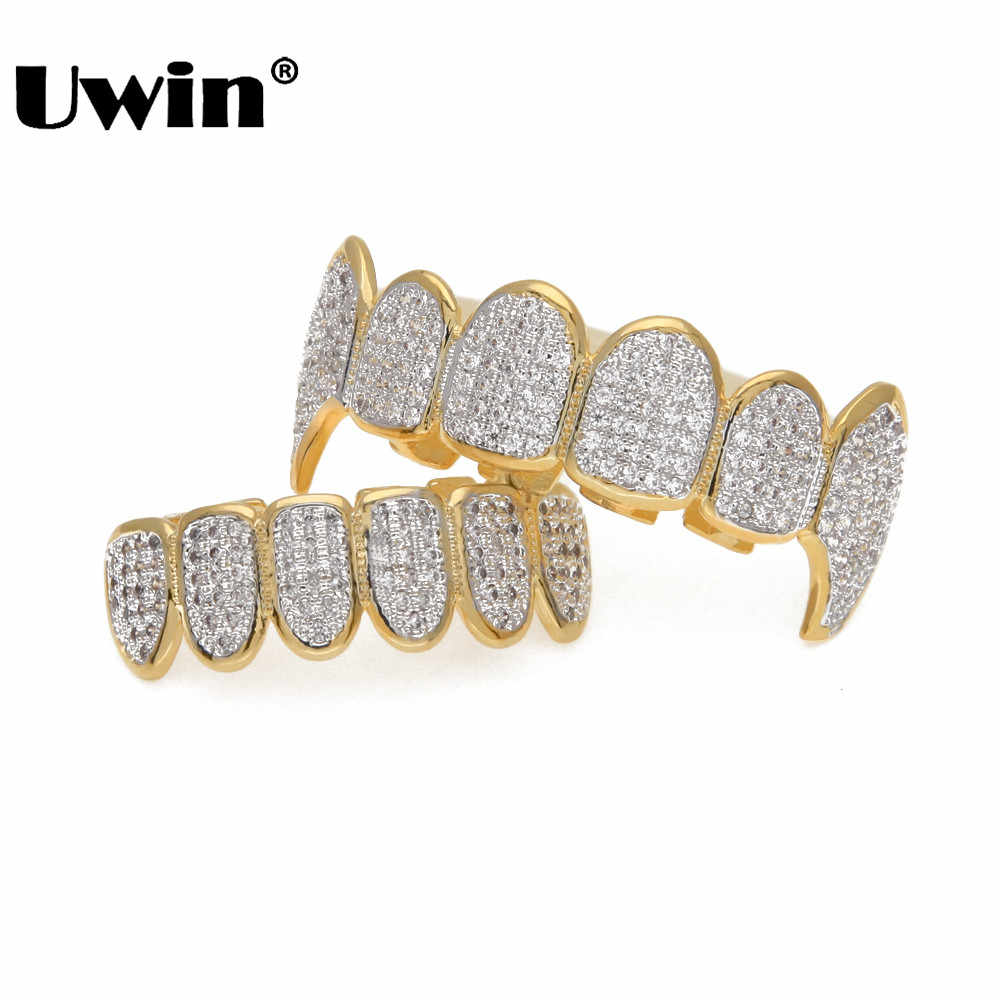 Uwin Micro Pave Cubic Zirconia Silver Gold ฟัน Hiphop Rocker ฮาโลวีน Iced Out Caps Top & Bottom Fang grills ชุด