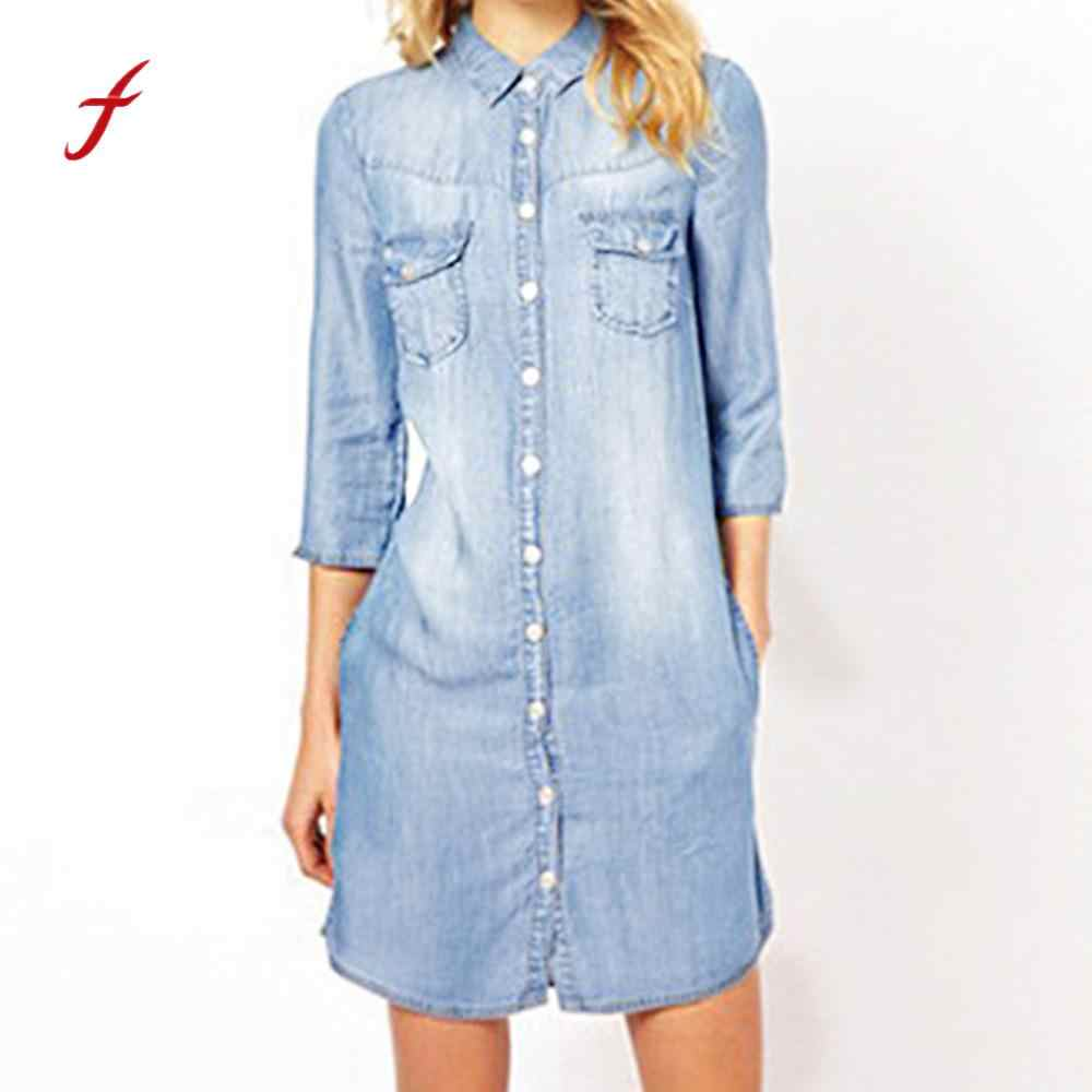 1e6a29c2760 Feitong Vestidos verano Fashion dress Women Denim Large Buttons Three  Quarter Pocket Dress elegant Women vestidos