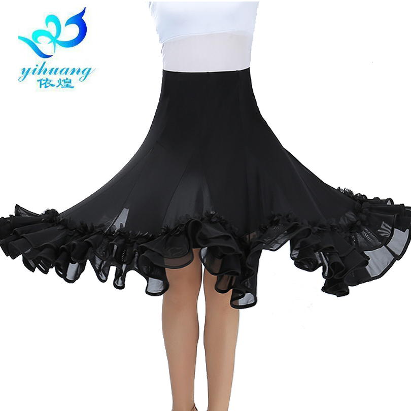 Ballroom Dance Costume Skirt Tango Modern Standard Performance Waltz Salsa Rumba Training Half Dress Elastic Waistband #2537-1