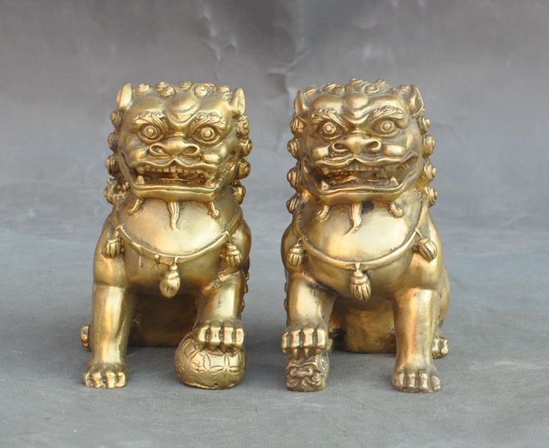 christmas Lucky Chinese Brass fengshui Evil Guardian Door Foo dog Lion Beast Statue Pair halloween