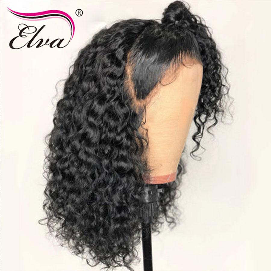 Elva Wigs Full-Lace Hair Curly Blackwomen Brazilian with Pre-Plucked Bleached Knots