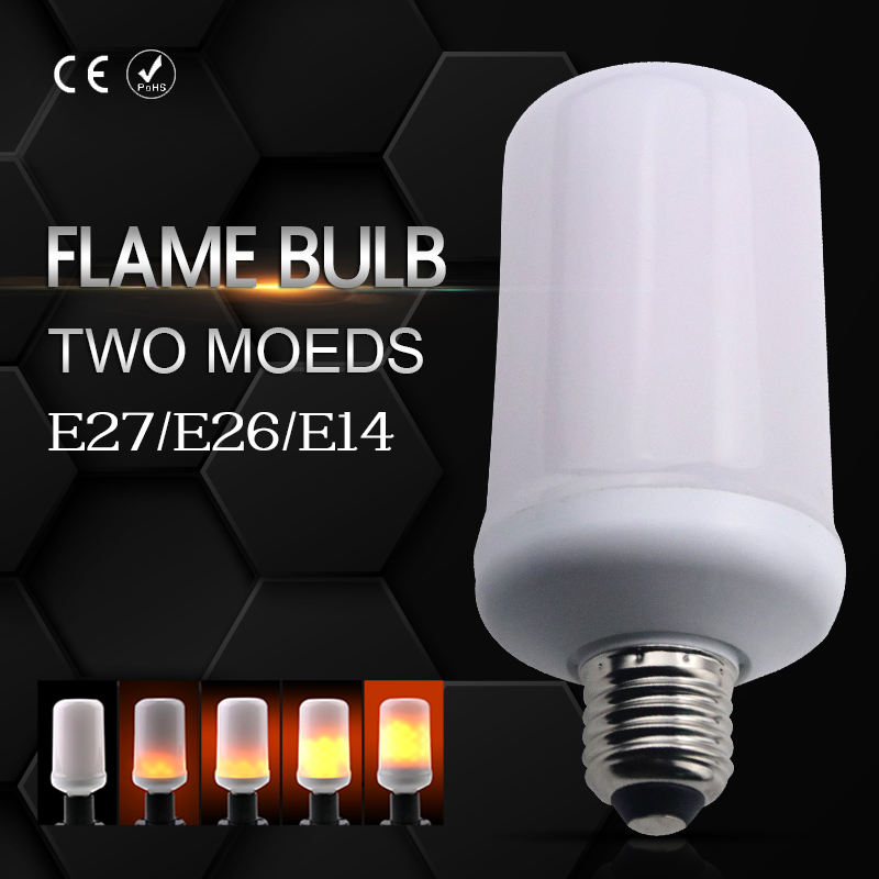 Flame Effect Bulb lamp LED E27/E26 2835SMD 99leds 5W E14 Flickering Emulation Decorative lights Two Modes Hotel atmosphere lamp