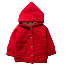 Children Sweater Winter Small Baby Hooded Sweater Girls Super Soft Wool Cashmere Rabbit Layer Keep Warm Thickening Cardigan Coat