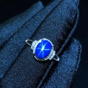 Image 5 - النجوم خاتم من الياقوت الأزرق ، كلاسيك 925 الفضة النقية ستار خط جميل البريد التعبئة
