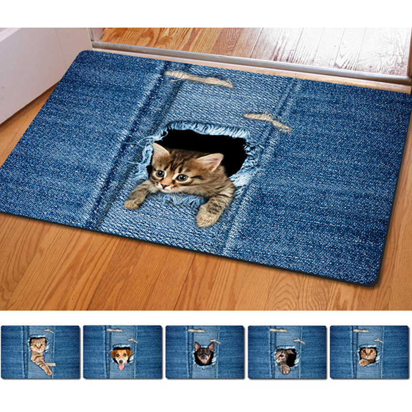 Fashion Kawaii Floor Mats Animal Cute Cat Dog Print