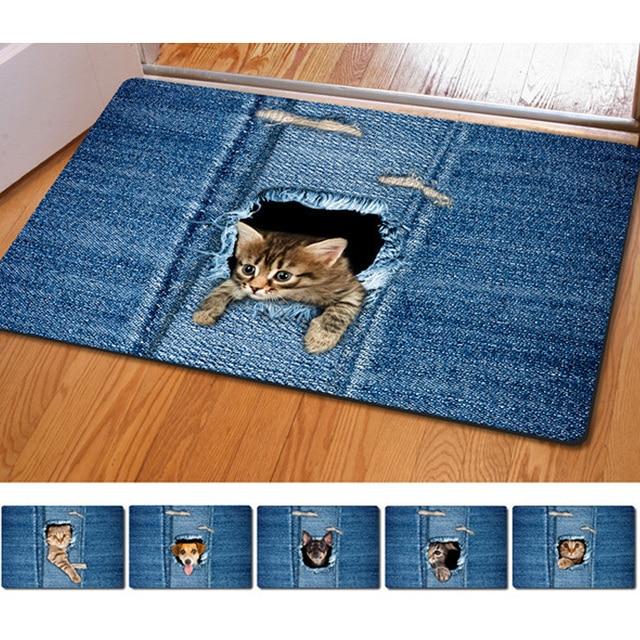 Fashion Kawaii Floor Mats Animal Cute Cat Dog Print Bathroom Kitchen Carpet House Doormats For Living