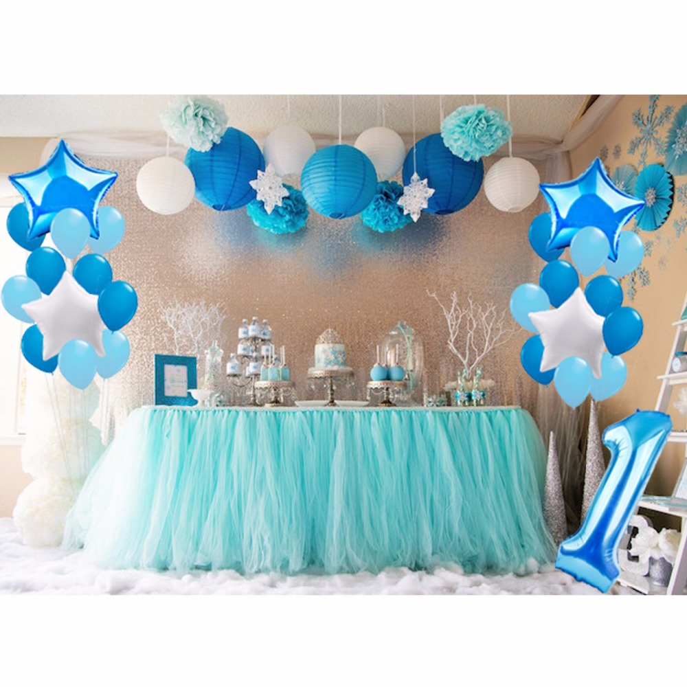 FENGRISE 1st Blue Theme Party Decoration Pompom Ball Happy Birthday Balloons Baby Boy First Decor Supplies In DIY Decorations From Home