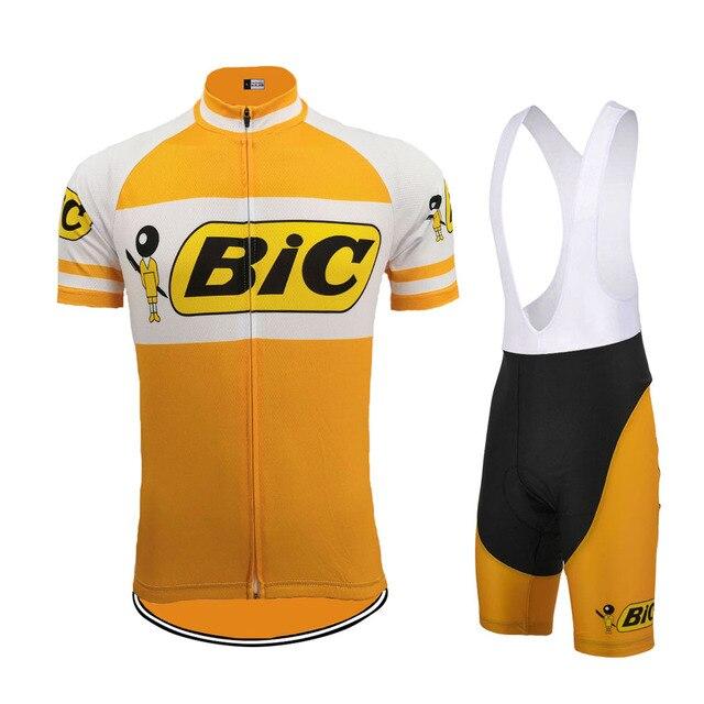 NEW Orange cycling jersey set men short sleeve pro team bike wear BIC jersey  set bib shorts Gel Pad classic Cycling clothing eab1c91bc