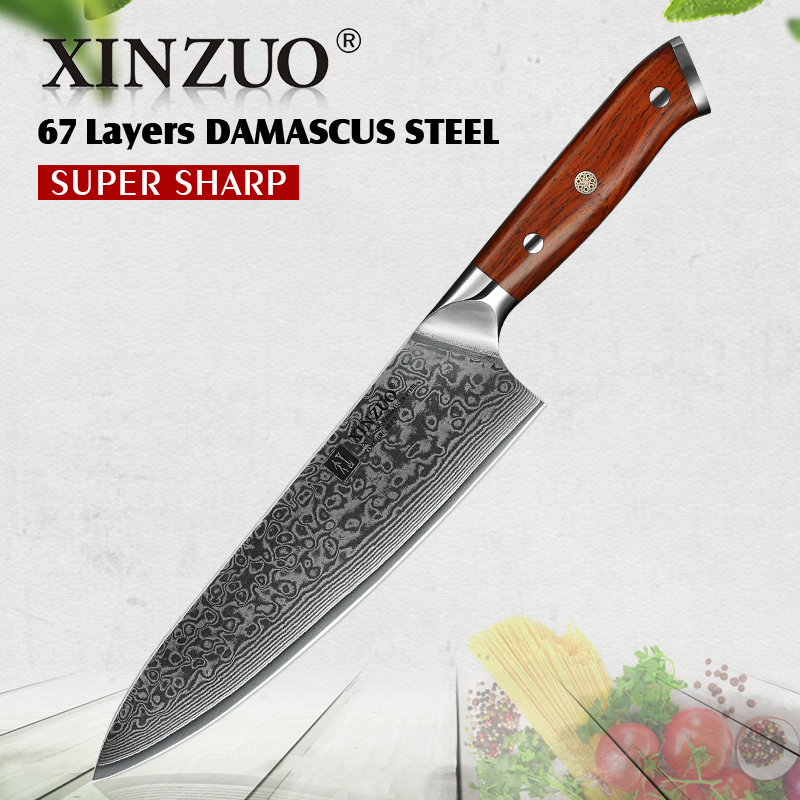 XINZUO 8.5'' inch Chef Knife vg10 Damascus Steel Kitchen Knives Stainless Steel Gyutou Slicing Knife Cultery Rosewood Handle