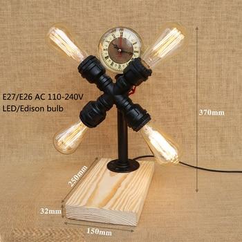 Loft Industrial vintage nature wood base steam punk table lamp E27 light modern reading desk lamp for study bedroom workroom bar