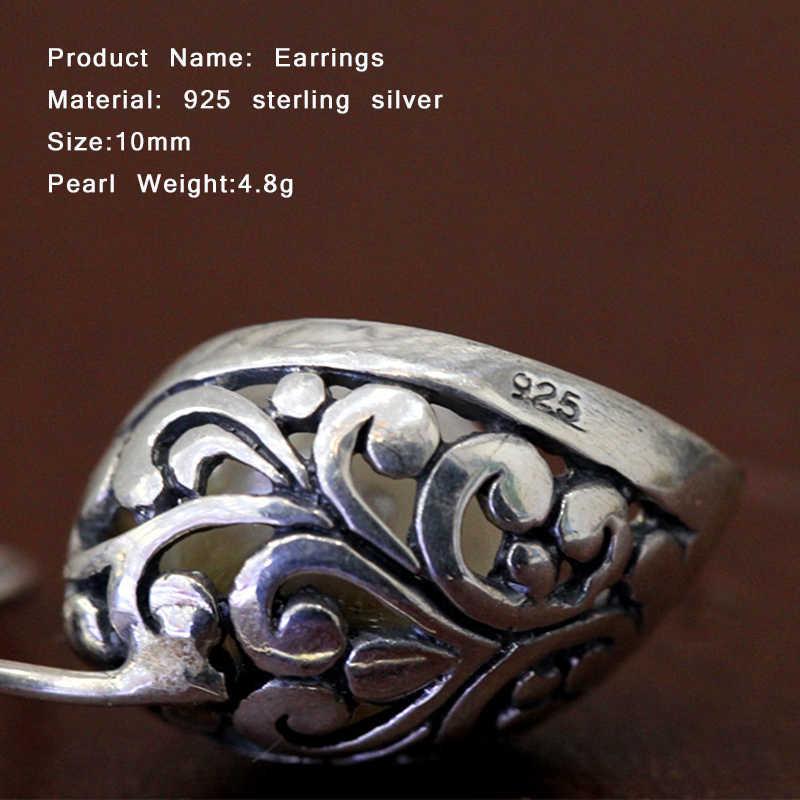 รอบโกเมนต่างหูหญิง 925 เงินเครื่องประดับจัดงานแต่งงานของขวัญผู้หญิงกลวงดอกไม้ต่างหูสำหรับผู้หญิง SE09