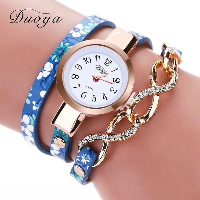 Duoya Luxury Watch Fashion Women Gold Thin Leather Bracelet Watch Ladies Dress Quartz Wristwatch Clock Business Vintage Watch