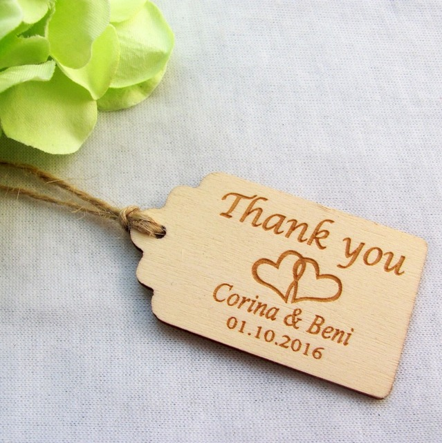 100pcs Personalized Engraved Thank You Wedding Tags Wooden Tags