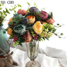 12 heads/bouquet large artificial peony bouquet real touch roses silk flower for wedding decoration mariage