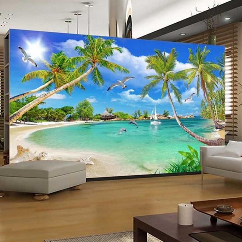 現代のカスタム 3d 写真の壁紙壁の壁画 3D 壁紙夏ビーチ木風景家の装飾リビングルーム