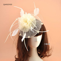 European US White Red Blue Black Veil Gauze Feather Fascinator Wedding Hair Clip Party Headdress Fashion