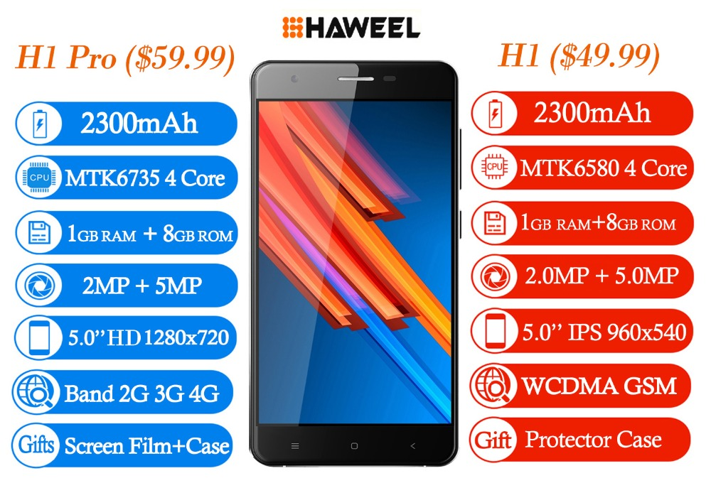 HAWEEL H1 Pro LTE 4G Cellphone 5.0'' 8GB Smartphone Android 6.0 MTK6735 Quad Core RAM 1GB 2300mAh Dual SIM 5.0MP Mobile Phone