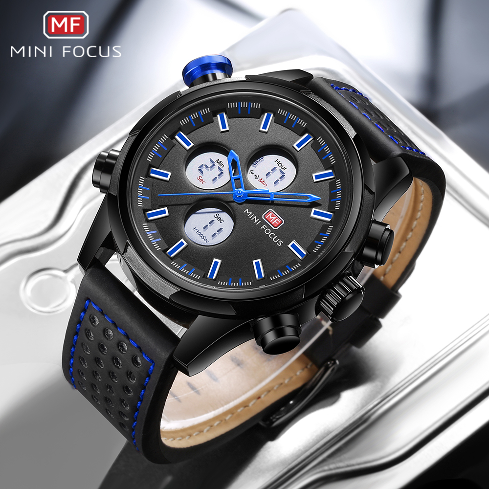 Brand Sports Watches Men Dual Time Leather Military Watch Men LED Digital Wristwatch 30M Waterproof Men's Clock Original Box bewell multifunctional wooden watches men dual time zone digital wristwatch led rectangle dial alarm clock with watch box 021a