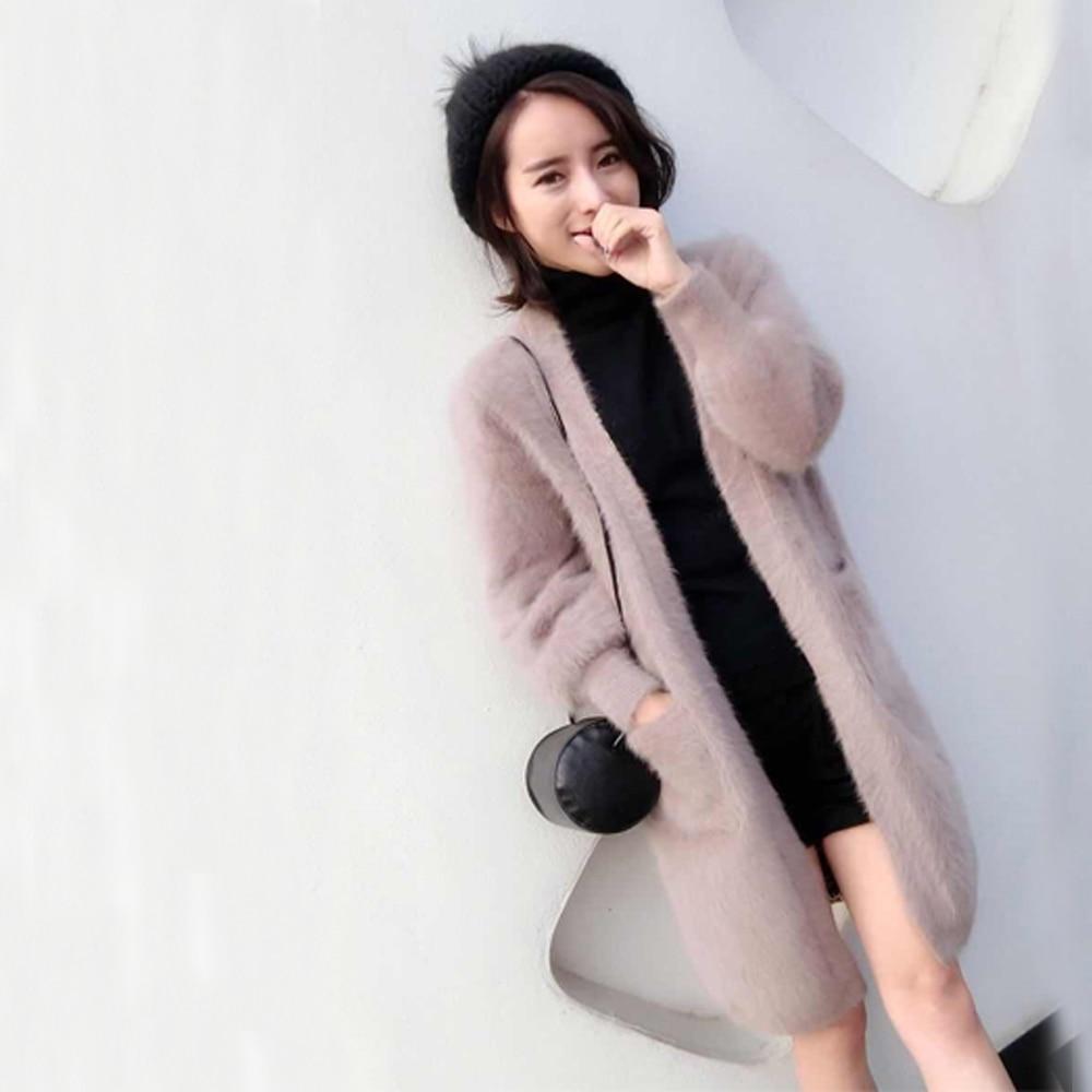 2019 Women High Fashion Pure 100 Mink Cashmere Cardigans Factory Customize Colors and plus size mink