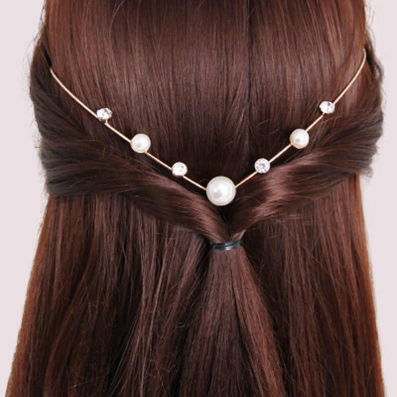 Back Hold Headbands คริสตัล Hairbands มุก Headwear สาวผม Rhinestones อุปกรณ์เสริมผม Headdress