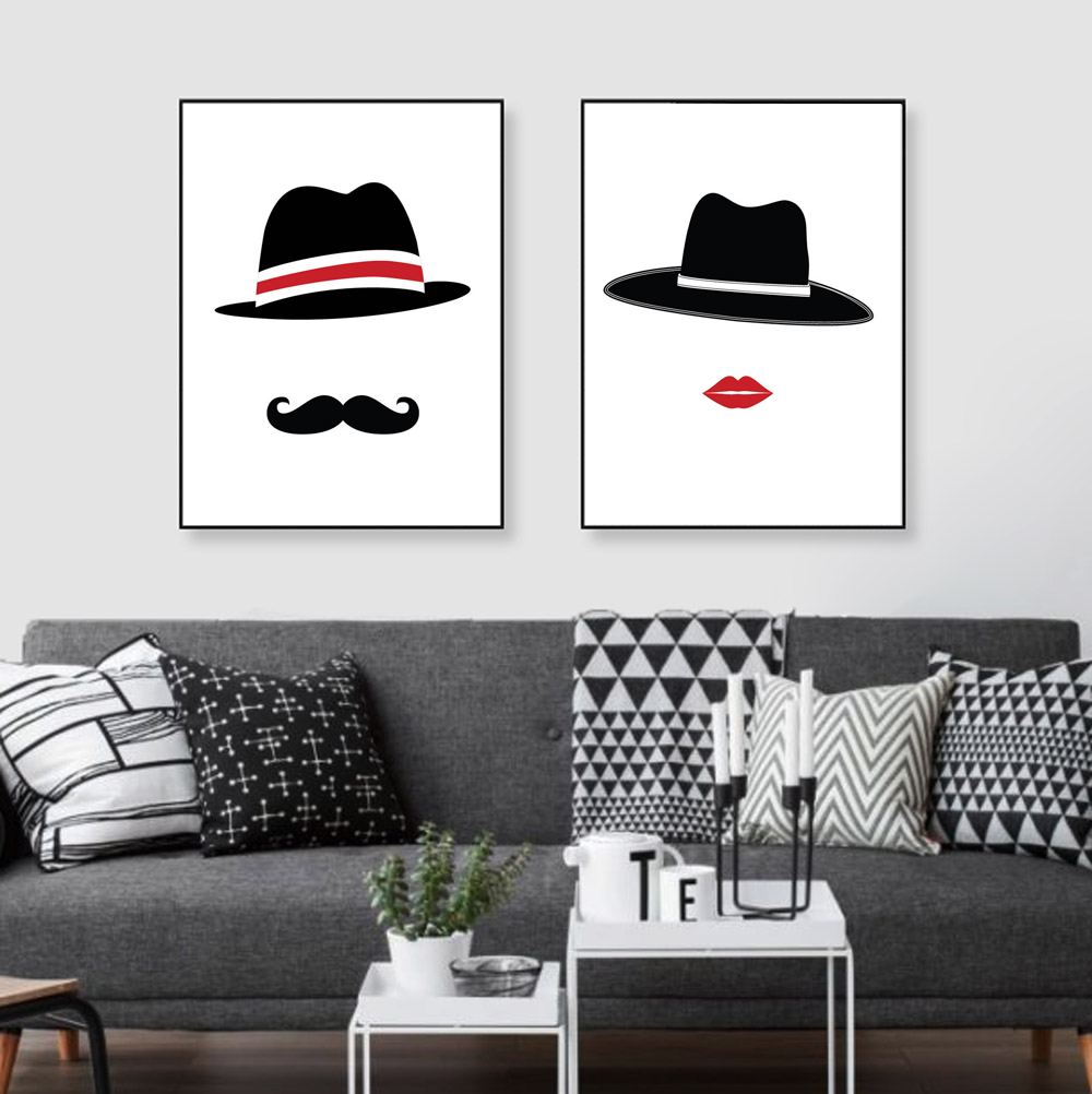couple love pictures promotion shop for promotional couple love nordic abstract love couple hippie hat painting canvas art print poster wall pictures living room home decor paintings no frame