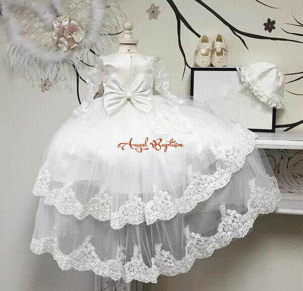 Beautiful Long sleeves sheer two tiered lace With Bonnet Baby long christening dress tulle Baptism Gowns for Boys and Girls long mesh sheer slip babydoll