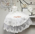 Beautiful Long sleeves sheer two tiered lace With Bonnet Baby long christening dress tulle Baptism Gowns for Boys and Girls