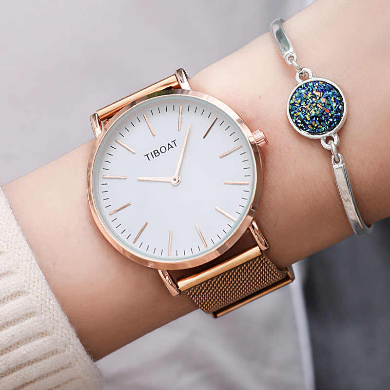 Top quality Women Stainless Steel Watches Rose Gold Quartz Waterproof Watch Women Silver Black Mesh Ladies Watch reloj mujer