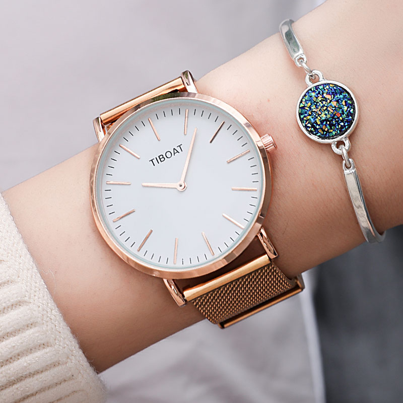 Rose Gold Watch Rostfritt stål Mesh Band Japan Quartz Högkvalitativa Vattentäta Kvinnor Silver Black Ladies Watch Dropshipping