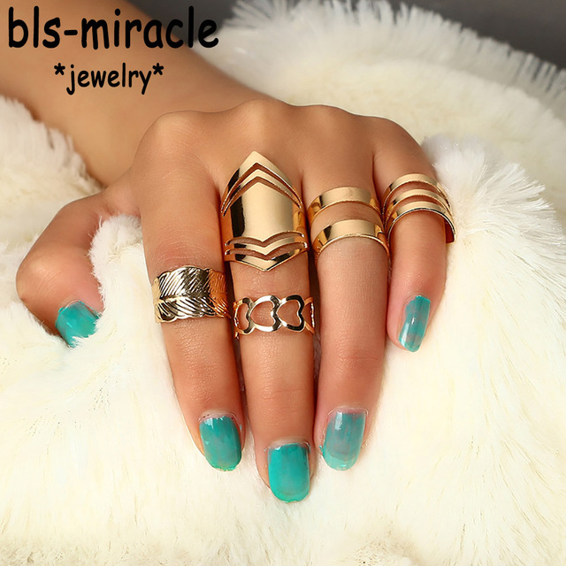 Bls-miracle Bohemian Style Set New Fashion Vintage Gold Color Heart Leaf Shape F