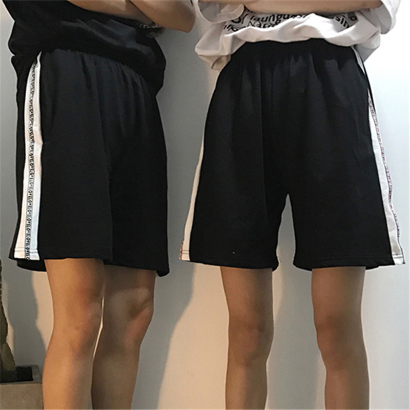 Harajuku Casual Wide Shorts Women Knee Length Classic Loose Couple Side White Strip Korean Letter Webbing Shorts Lovers