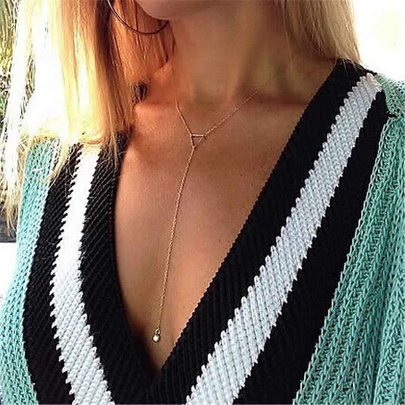Surou Fashion Jewelry Y Simple Necklace Multi Layer Necklace Gold Thin Chain Pendant Boho Jewelry Women Long Necklace Bijoux