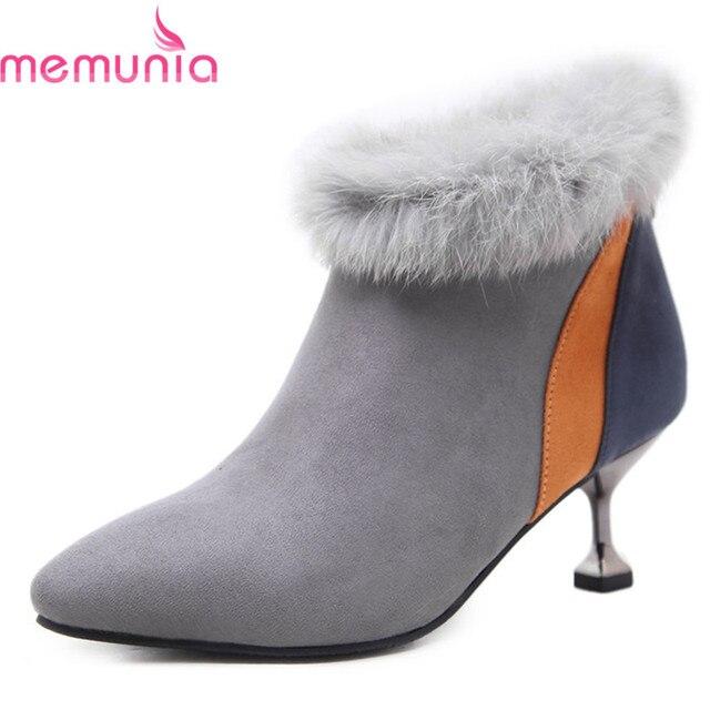 MEMUNIA new arival 2018 cao gót khởi động với faux fur mắt cá chân khởi động chỉ ngón chân của phụ nữ khởi động mùa đông màu sắc hỗn hợp giày nữ