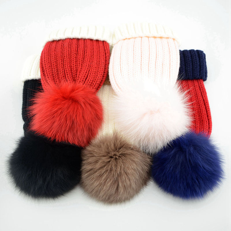 Bnaturalwell Fox Fur Hats Pompoms Ball Handcraft Wintter Soft Hats Children  new winter cap Custom for Kids Genuine Furry H009K-in Hats   Caps from  Mother ... b2cd19ebc77d