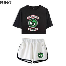 FUNG Riverdale Southside Serpents 2 piece Set Women New Top and Shorts Set Summer Outfits Track Suit Riverdale Women Clothing(China)